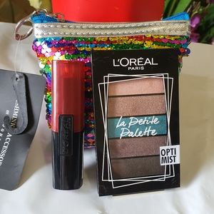Set | L'OREAL | Eyeshadow + Lipstick + Coin Purse | ALL NEW